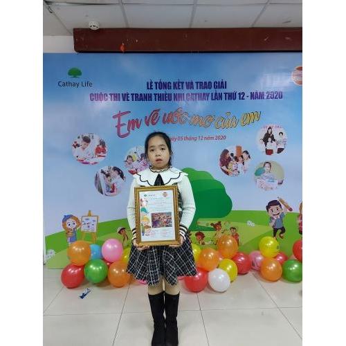 Em Khuất Thị Linh Chi lớp 3D đạt giải nhất quốc gia cuộc thi vẽ tranh thiếu nhi 'Em vẽ ước mơ của em'